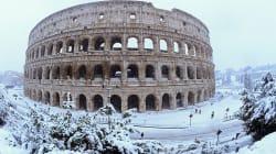 Postales de la nevada que cubrió de blanco Roma,