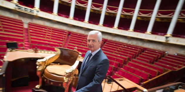 Le Président de l'Assemblée nationale Claude Bartolone vu dans l'hémicycle du Palais Bourbon.