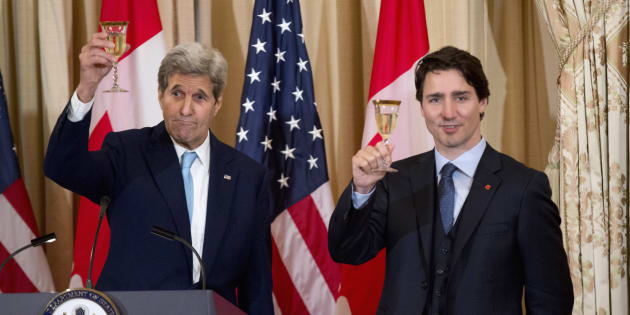 Former U.S. secretary of state John Kerry makes a toast with Prime Minister Justin Trudeau during a luncheon meeting at the State Department in Washington on March 10, 2016.