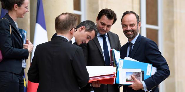 Edouard Philippe et Gerald Darmanin à l'Elysée le 11 juillet 2017.