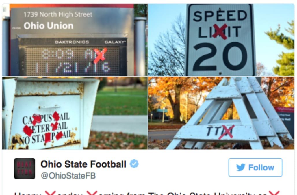 Ohio State football has crossed out the 'Ms' around campus