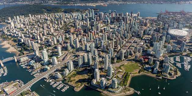 An aerial view of downtown Vancouver and the West End. British Columbia's attorney general says he's deeply troubled by reports of money laundering and criminal activity in the real estate market.