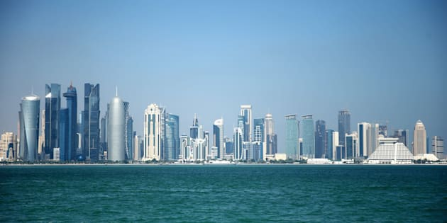 DOHA, QATAR - DECEMBER 29:  The West Bay skyline of Doha, Qatar''s capital city, as seen from the Corniche ahead of the 2022 FIFA World Cup Qatar on December 29, 2015 in Doha, Qatar.  (Photo by Warren Little/Getty Images)