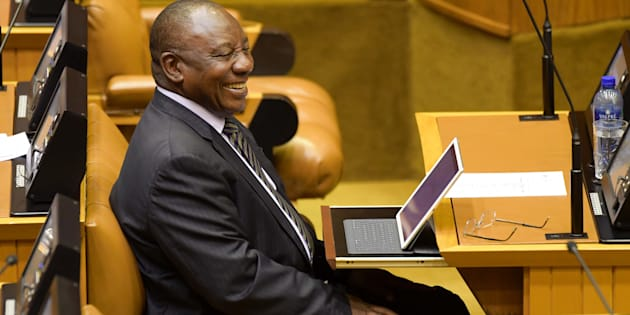 Does grinning mean winning? President Cyril Ramaphosa in the National Assembly on Monday.