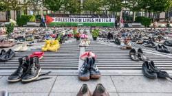 Zapatos en Bruselas por los muertos de