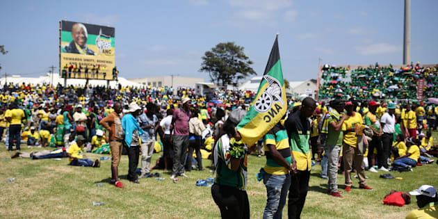 ANC supporters attend the party's 106th anniversary celebrations in East London on January 13 2018.