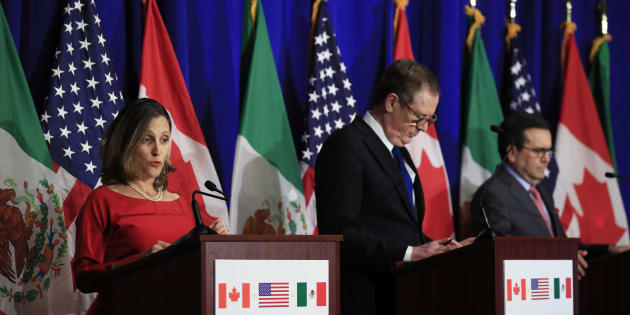 Foreign Affairs Minister Chrystia Freeland, U.S. Trade Representative Robert Lighthizer,  Mexico's Secretary of Economy Ildefonso Guajardo Villarreal speaks during the conclusion of the fourth round of negotiations for a new North American Free Trade Agreement in Washington on Oct. 17, 2017.
