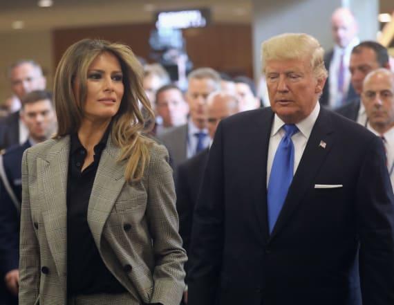 Melania Trump dazzles in Calvin Klein suit