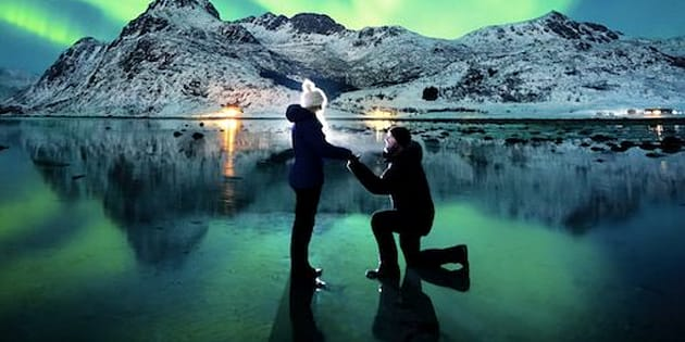 Dale placed a torch light behind them to illuminate the shot and set the camera's self-timer.