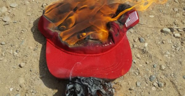 Trump Supporters Setting MAGA Hats Ablaze Over Presidents Stance - Deplorable trump supporters hats with us map of red states