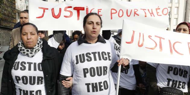 """Une manifestation réclamant """"Justice pour Théo"""" le 6 février 2017 à Aulnay-sous-Bois."""