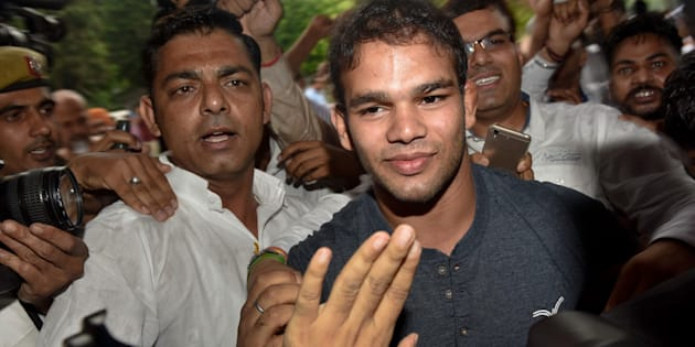 Narsingh Yadav arrives at the NADA office on July 27, 2016 in New Delhi. (Photo by Vipin Kumar/Hindustan Times via Getty Images)