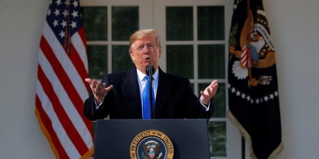 """Donald Trump annonce décréter """"l'urgence nationale"""" pour le mur à la Maison Blanche, le 15 février 2019."""