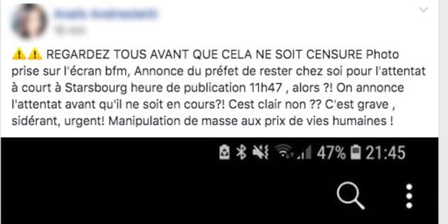"""Capture d'un message publié sur la page """"Gilets jaunes tous à Paris""""."""