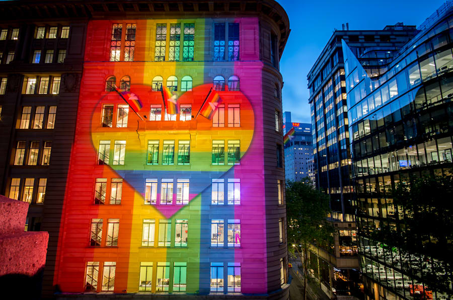 Atlassian's Sydney headquarters have been lit up in support of marriage equality.