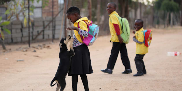 A school girl is welcomed by a puppy as she returns from school at Mapela village near the Mogalakwena platinum mine in Mokopane , north-western part of South Africa , Limpopo province. May 18, 2016. REUTERS/Siphiwe Sibeko