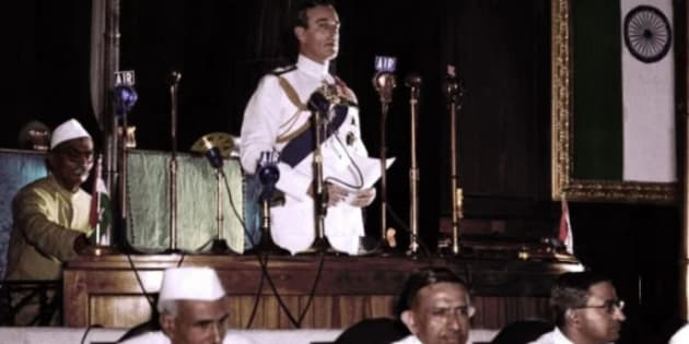 Lord Mountbatten addressing the Indian Parliament--Imagined in coloured photography.