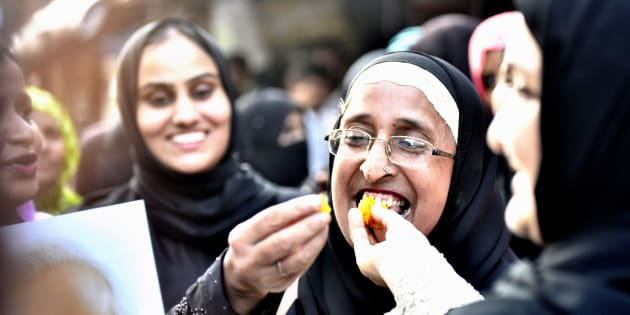 Muslim women celebrate after verdict given by the Supreme Court for banning Triple Talaq.