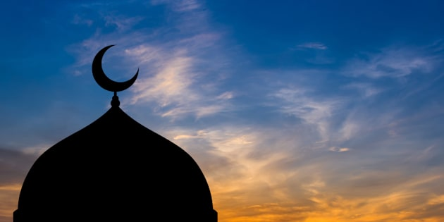 Mosque dome silhouette  in Twilight time