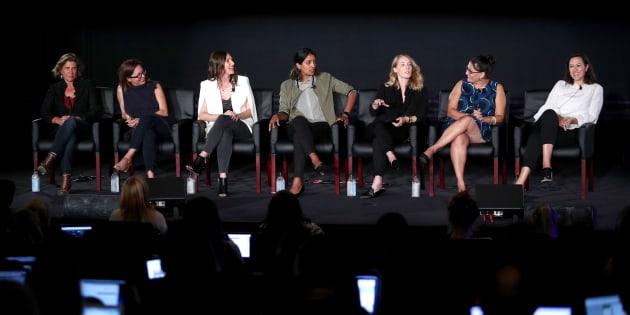 Les réalisatrices Gwyneth Horder-Payton, Liza Johnson, Rachel Goldberg, Meera Menon, Steph Green, Alexis Ostrander, and Maggie Kiley speak onstage le 9 août 2017, lors de la conférence de presse organisée par la chaîne FX.