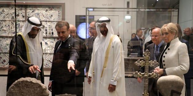 Macron à l'inauguration du Louvre Abou Dhabi ce 7 novembre.