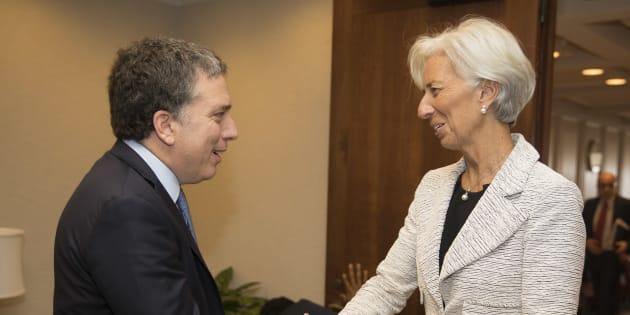 La directora general del FMI, Christine Lagarde, recibe a Nicolás Dujovne, ministro de Hacienda de Argentina, en Washington.