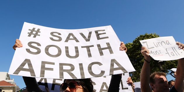 Demonstrators take part in a protest calling for the removal of South Africa's President Jacob Zuma in Cape Town, South Africa April 7, 2017.