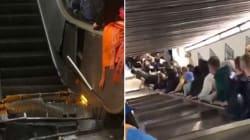 VIDEO: Aparatoso accidente en las escaleras del Metro de