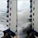 La tempête à Tenerife a arraché les balcons de cet