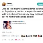 Arévalo se lleva un disgusto en Twitter tras escribir este mensaje a Jennifer