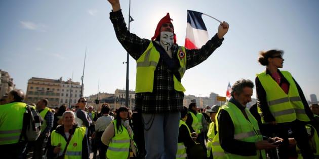 Des manifestants gilets jaunes à Marseille le 23 février 2019
