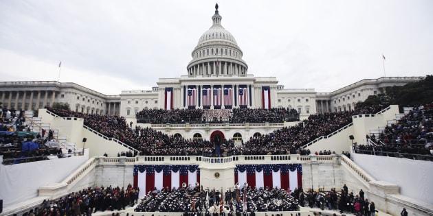 Donald Trump prend place devant le Capitole de Washington, le 20 janvier, pour la cérémonie de son investiture.