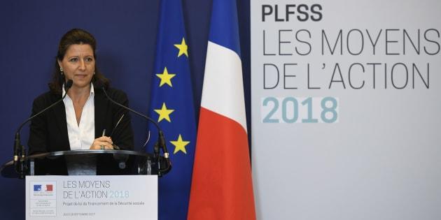 La Ministre de la Santé et des solidarités Agnès Buzyn présente le budget 2018 de la Sécurité sociale lors d'une conférence de presse au ministère des Finances à Paris,  le 28 septembre 2017.