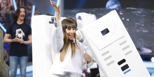 La cantante Aitana  durante el programa el hormiguero  en Madrid 04/04/2018