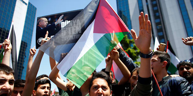 A pro-Palestinian demonstrator shouts during a protest against the U.S. embassy move to Jerusalem, near the Israeli consulate in Istanbul, Turkey May 15, 2018.