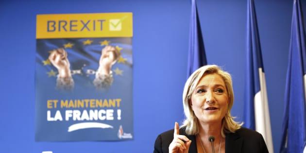 Marine Le Pen en conférence de presse en juin 2016, après le vote sur le Brexit en Grande Bretagne.