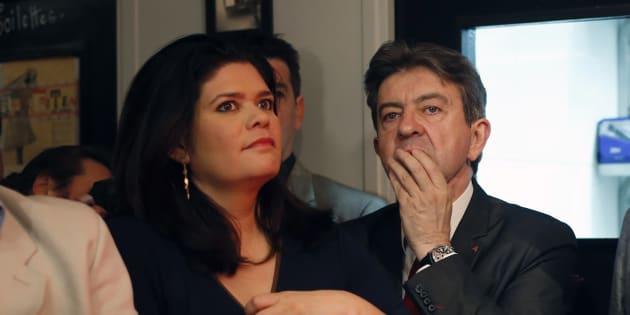 Raquel Garrido et Jean-Luc Mélenchon à Paris le 25 mai 2014.