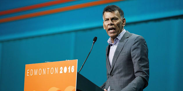 Canadian Labour Congress president Hassan Yussuff gives a speech during the NDP Federal Convention in Edmonton on April 8, 2016.