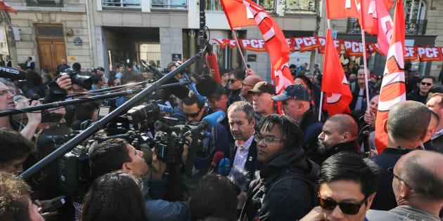 Les syndicalistes FO lors de la manifestation parisienne de ce 9 octobre.
