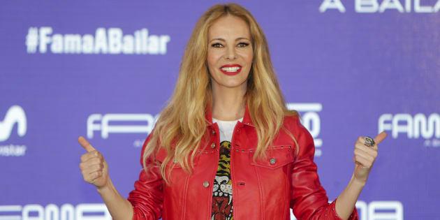 La presentadora Paula Vázquez, durante la presentación del programa 'Fama, a bailar' en Madrid el 7 de marzo de 2018.
