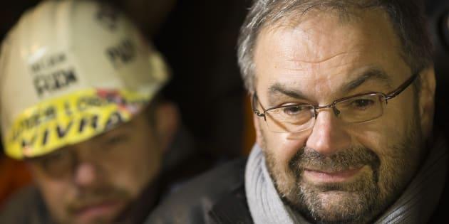 Francois Chérèque le 29 novembre 2012, auprès des employés d'Arcelor-Mittal.