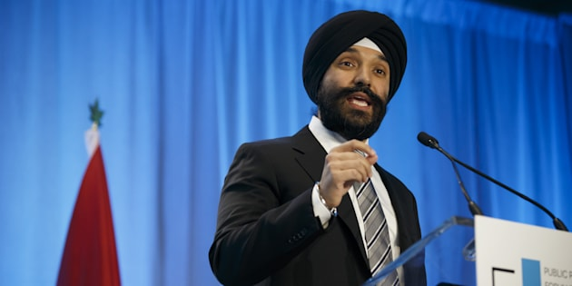 Navdeep Bains, minister of innovation, science and economic development, speaks during the Public Policy Forum Canada Growth Summit 3 in Toronto, Thurs. April 12, 2018. Bains has ordered the CRTC to launch an investigation into telecoms' sales practices.