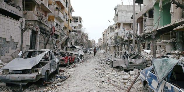 Les destructions dans la région de la Ghouta, près de Damas en Syrie, le 25 février 2018.
