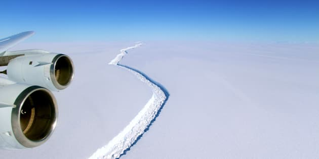 A photo of the rift in the Larsen C ice shelf captured by NASA in November.