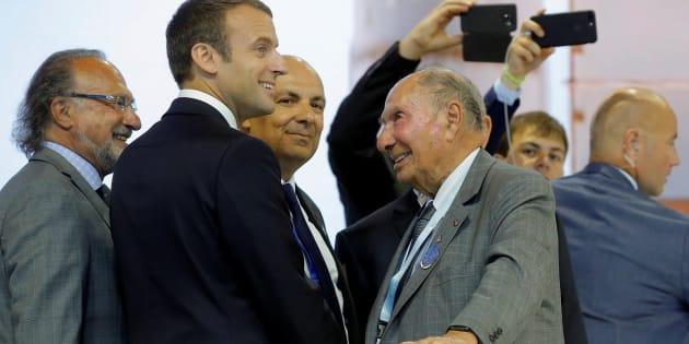 Le président Emmanuel Macron et Serge Dassault au Bourget le 19 juin.