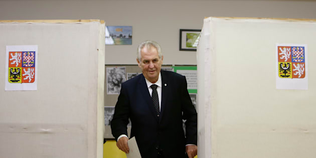 Czech President Milos Zeman casts his vote in parliamentary elections at a polling station in Prague, Czech Republic October 20, 2017.