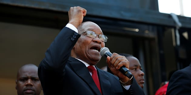 Former president Jacob Zuma addresses his supporters outside the High Court in Durban, South Africa, April 6, 2018.
