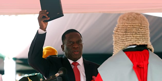 Emmerson Mnangagwa is sworn in as Zimbabwe's president in Harare, Zimbabwe, November 24, 2017.