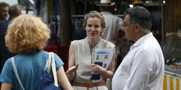 Nathalie Kosciusko-Morizet sur le marché de Place Maubert avant son agression.