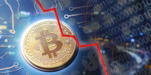 ビットコインのバブル崩壊のイメージ写真